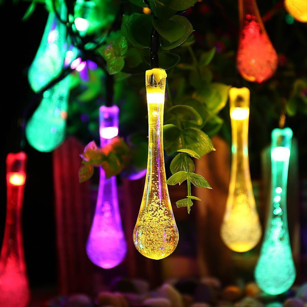 Solar String Light Built-in Rechargeable Battery On/Off Switch String Light For Parties Colorful 20 Raindrop Bulb Night Light