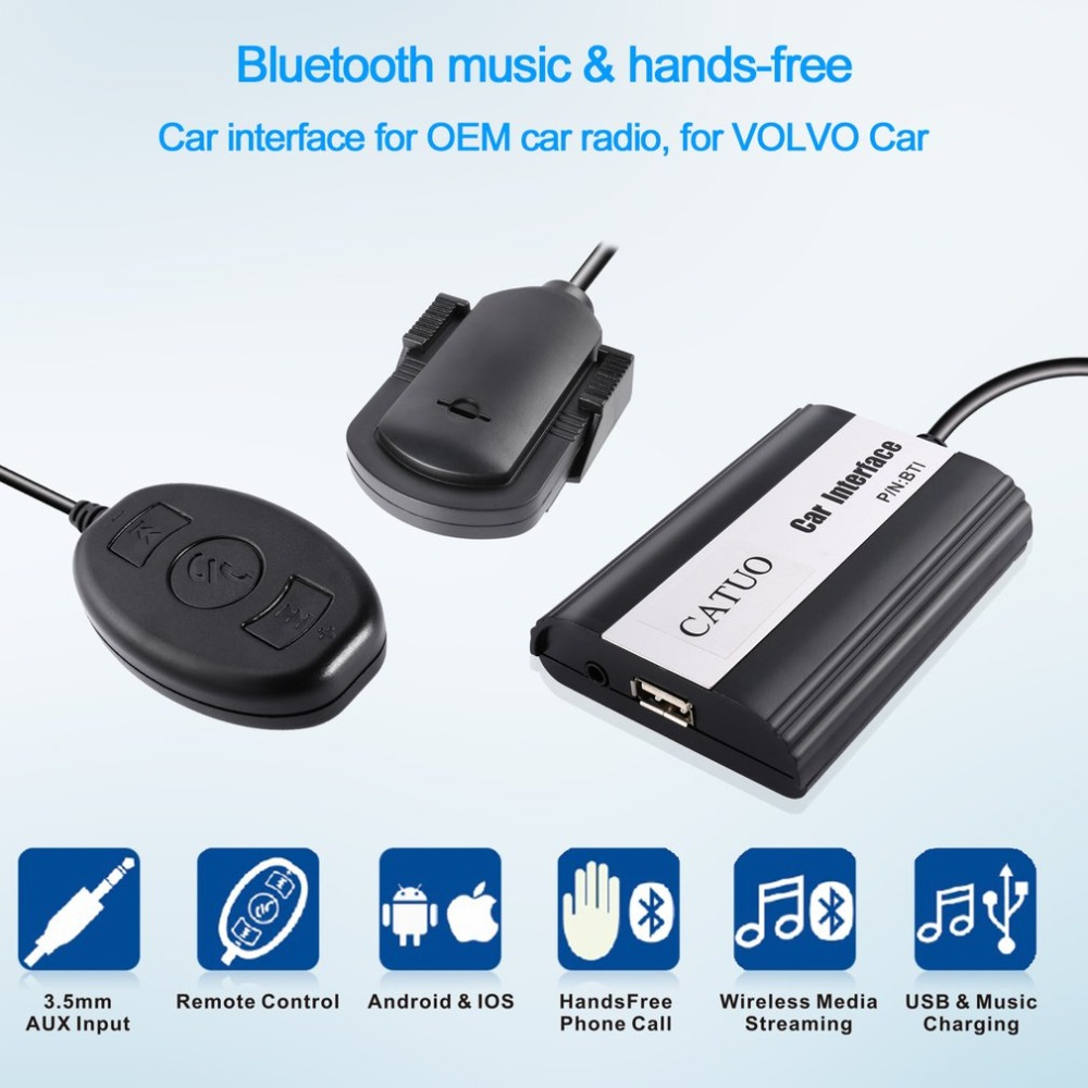 CATUO 3.5mm AUX Input CD Sound Quality Wireless Media Streamimg Bluetooth Music & Hands-free Car Interface For VOLVO Car