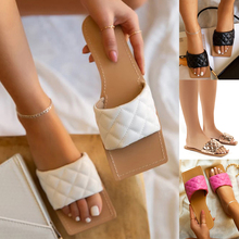 Open Toe Women Sandals Square Toe Flat Slider Sandalias Flats Shoes
