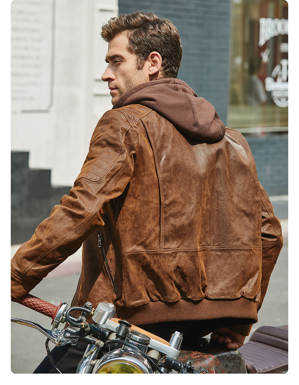 H8809478cf3ba409da43166fe9d2d53562 New Men's Leather Jacket, Brown Jacket Made Of Genuine Leather With A Removable Hood, Warm Leather Jacket For Men For The Winter