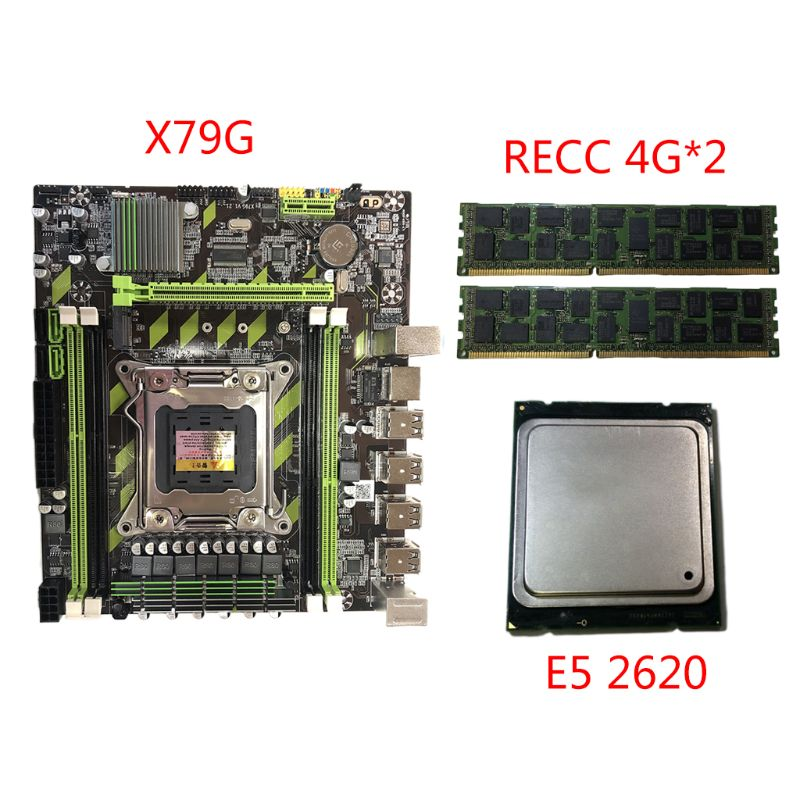 X79G Motherboard LGA 2011 DDR3 Mainboard with M.2 Interface E5 2620 CPU 2x4G Memory Card for In-tel Xeon E5 Core I7 CPUs image