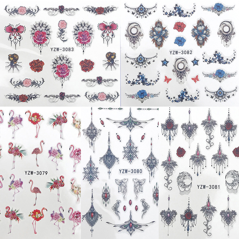 Stickers for Nails Water Decals Emoticon Nail Sticker Slider Art design Decoration Manicure Foil Adhesive Wraps Tools Pegatinas in Stickers Decals from Beauty Health
