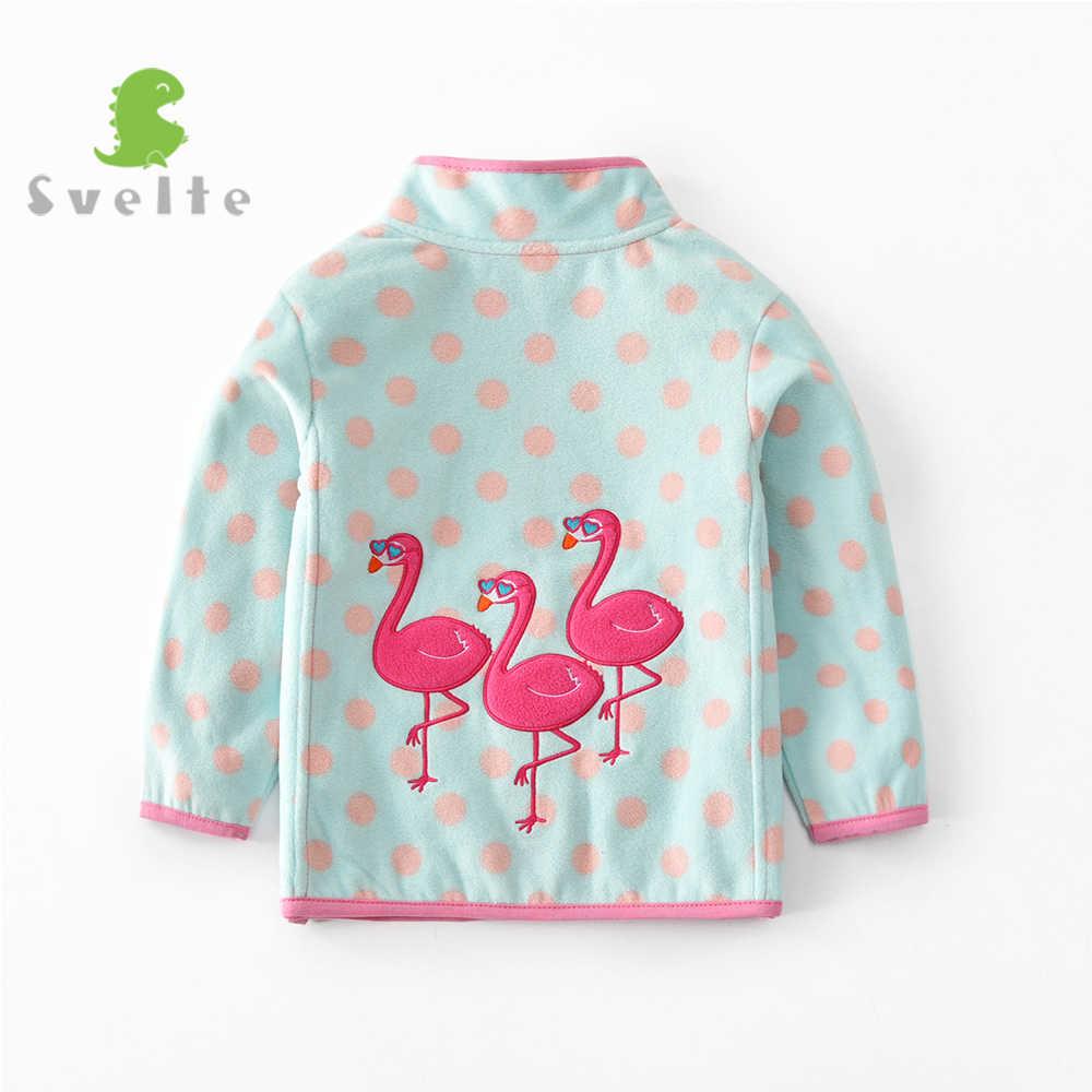 SVELTE für 2-7 Y Mädchen Weiche Fleece Jacke Nette Polka Dot Rosa Blau Mantel mit Rot Flamingo Stickerei kinder Frühling Herbst
