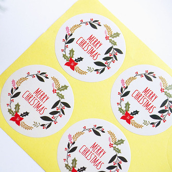 New 60Pcs 10Sheets Round Merry Christmas Garland 5cm Packaging Sealing Label Kraft Sticker Baking DIY Gift Stickers - discount item  23% OFF Stationery Sticker