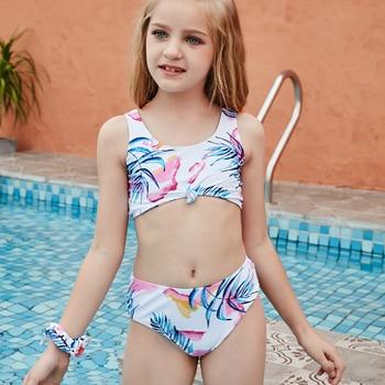 Mädchen Bikini Blatt 2-14 Jahre Teenager Kinder Sommer Strand Badeanzug Bademode 1