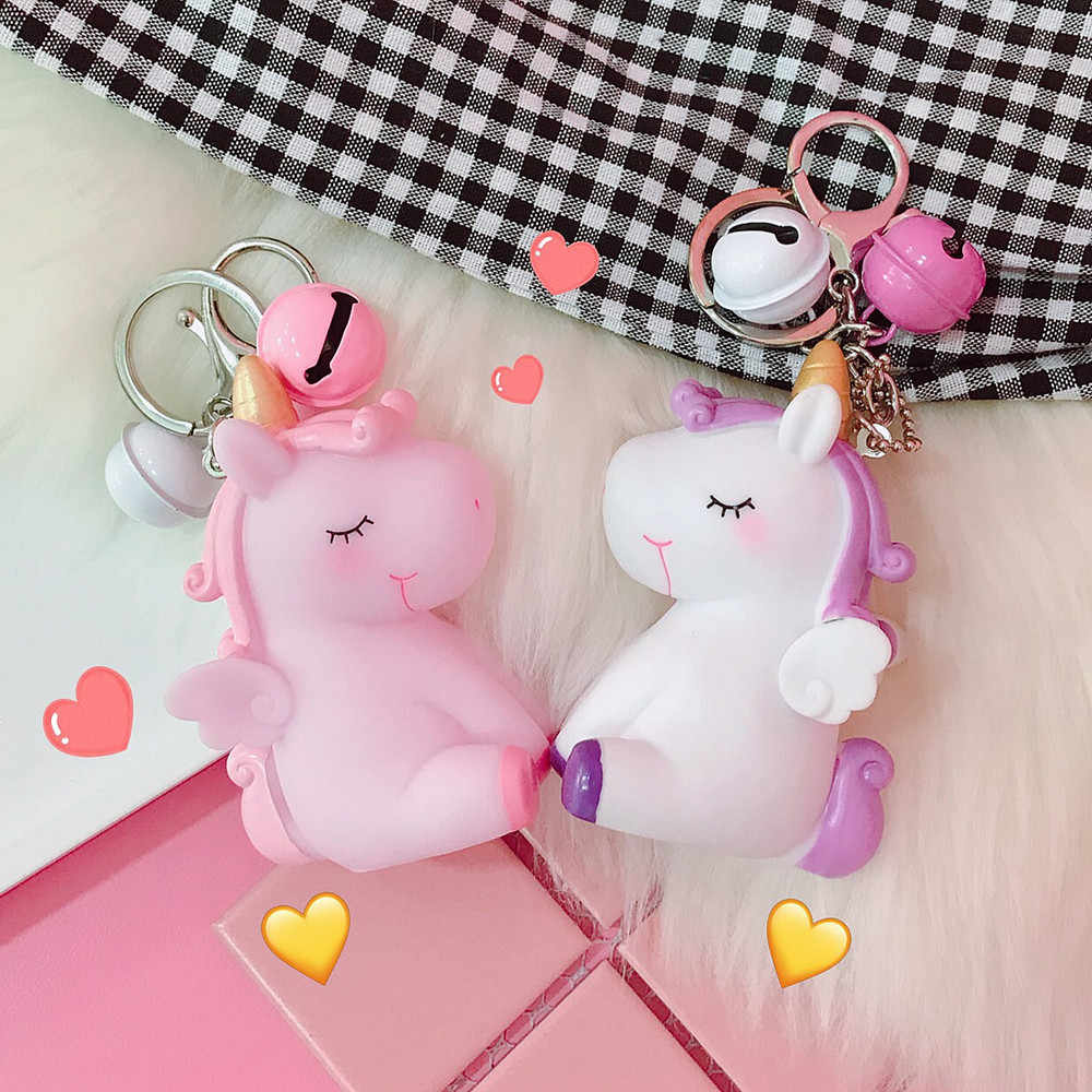 Rainbow PVC Animal Unicorn Keychain for Men Women Bag Ornament Phone Key Chain Porte Clef keyring Bag Decoration