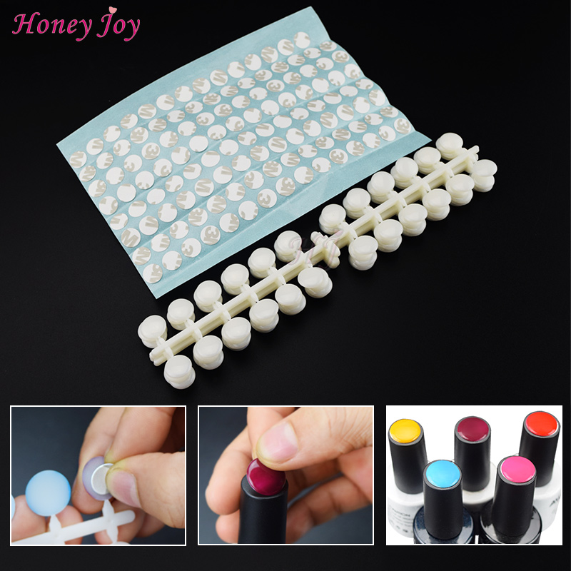 120tips/pack False Nail Tips Color Chart Flat Back With Adhesive Sticker For UV/Gel/Polish Color Display Card Chart