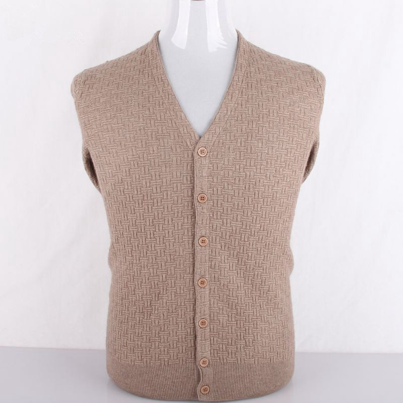 Pure Goat Cashmere Cross Grain Jacquard Knit Men Cardigan Sweaters Solid Color Single Breasted S/105-3XL/130
