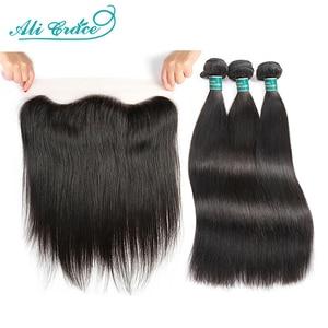 Ali Grace прямые пряди волос с фронтальной 13x4 средней длины коричневые Кружевные бразильские пряди человеческих волос с фронтальной бесплатно...