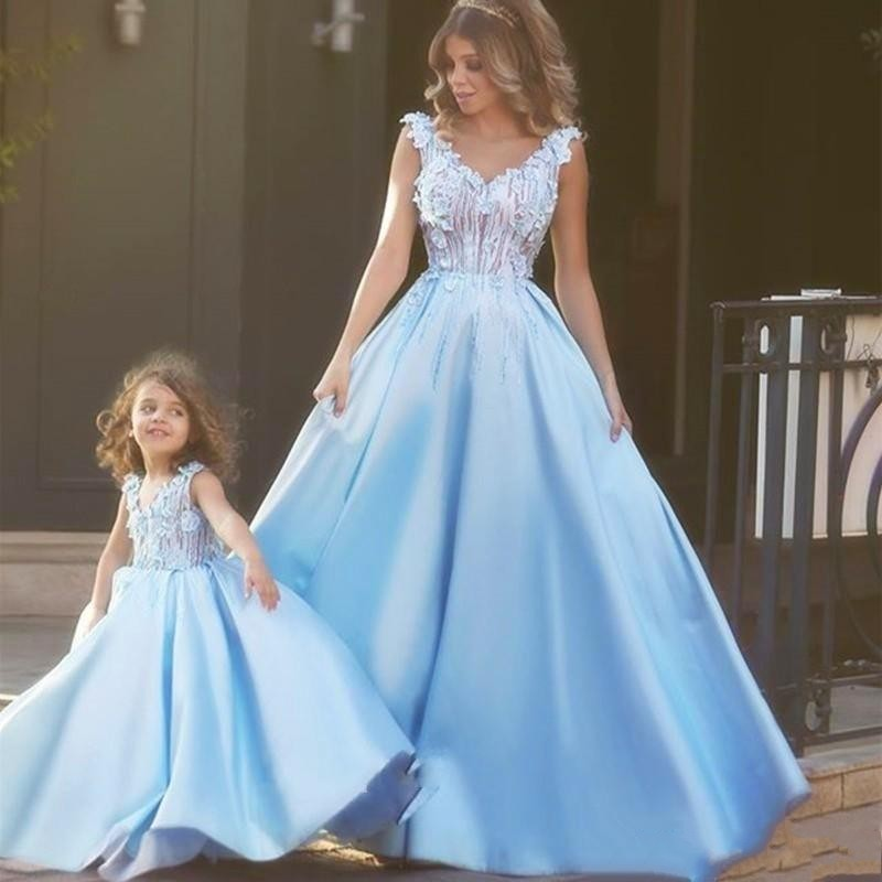 Elegant Blue Prom Dresses A Line Long Mother And Daughter Evening Party Dresses Applique Satin Custom Made 2020