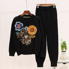Autumn womens knitting sweat suit high quality sequins floral sweaters + casual pants two piece set A924