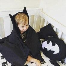 Детское одеяло Бэтмена, хлопковый коврик, черная летучая мышь, игровое белье для коляски, ковер для ползания новорожденных, пеленание, мягкий реквизит для фотосессии