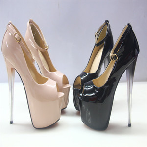 2020 women's platform ultra high heels 22 cm FISH toe patent leather shoes T sexy large size women's shoes