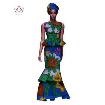 2020 New African Dresses For Women Dashiki Ladies Clothes Ankara O-Neck Africa Clothes Two Pieces Set Natural 6xl None WY1054 - 1, M