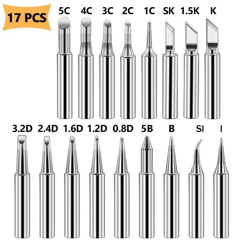 17pcs-lot-soldering-iron-tips-pure-copper-900m-t-soldering-iron-tip-lead-free-solder-tips-welding-head-bga-soldering-tools