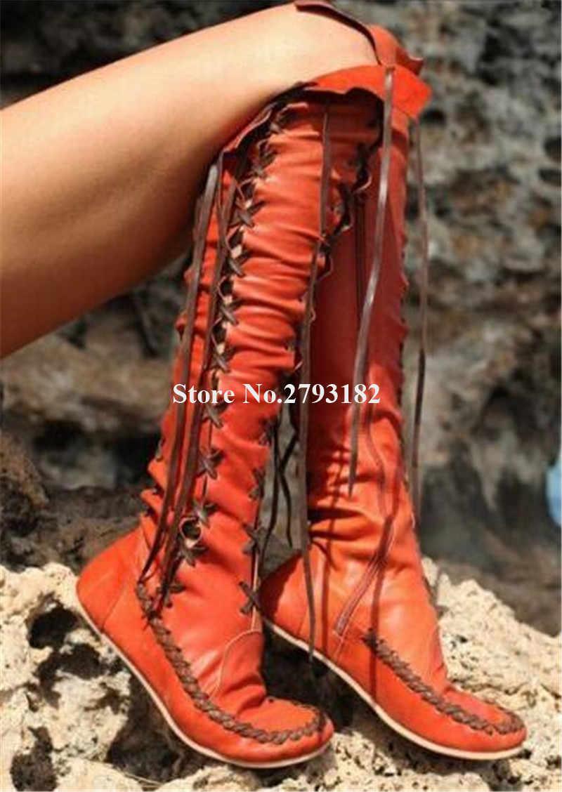 Femmes mode en cuir véritable genou à lacets glands bottes plates Orange violet rouge bottes longues bottes confortables grande taille