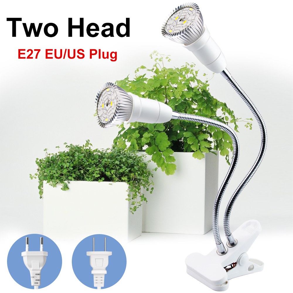 LED Light Bulbs For Plant Growth 2 HEAD LED Full Spectrum LED Grow Lights Lamps Indoor Flower Bloom Growing For Home Indoor