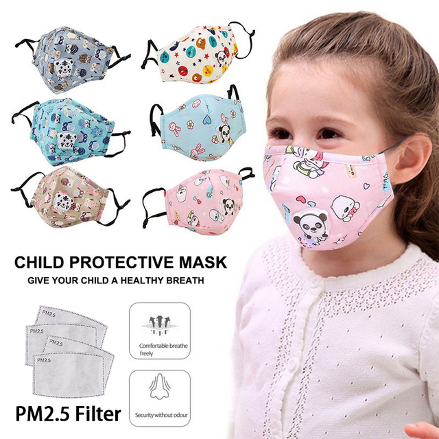 New Fashion Cartoon Reusable Children Mask For kids 2020 Breath Valve Mouth Face Mask kids PM2.5 Filters New Washable Mask 5