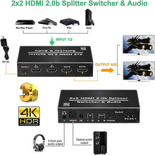 цена на avedio links HDMI Switch 4k 60Hz HDMI Splitter, 2 Port HDMI Switcher 2 in 2 Out with IR Remote Control ,Support HDR, HDCP 2.2,HD