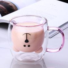 250ml Creative Cartoon Milk Glass Cup Double Wall Mug Cute Coffee Mugs And Cups Bear Double Layer Coffee Travel Mug With Handle