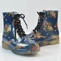 Waterproof Shoes Lace Up Women Waterproof Rain Shoes Anti slip Mid Calf Rainboots Floral Print Fashion Female Rainy Shoes D25