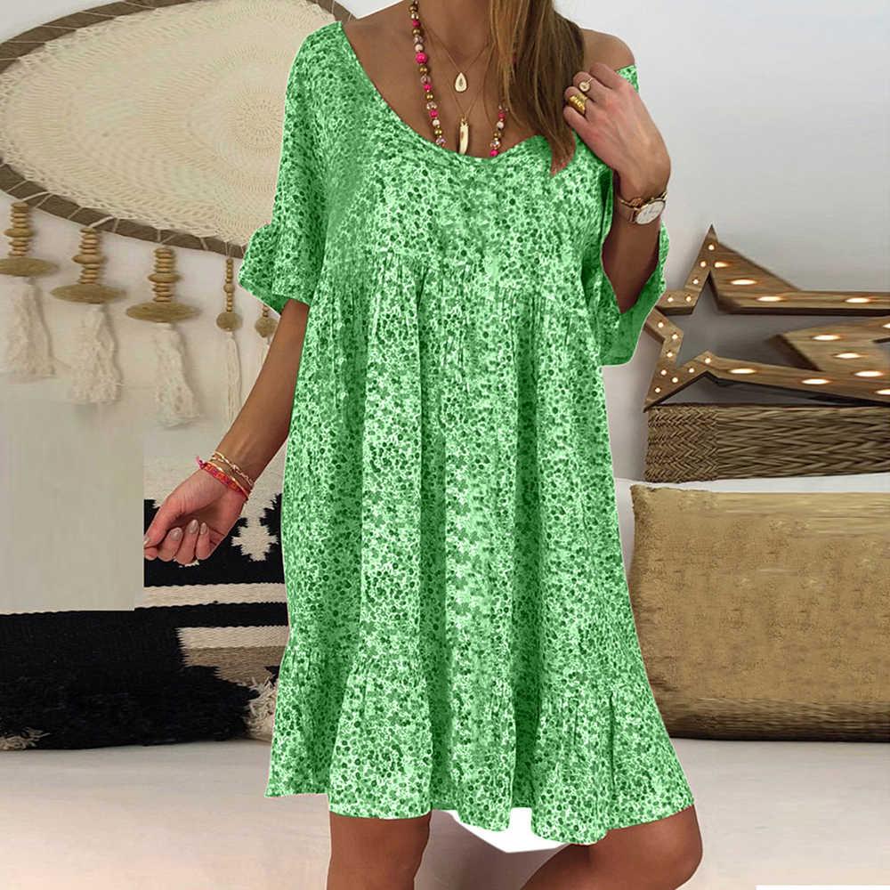 Женские модные летние милые платья с цветочным принтом и круглым вырезом, новинка 2019 года, женские свободные приталенные повседневные платья с короткими рукавами