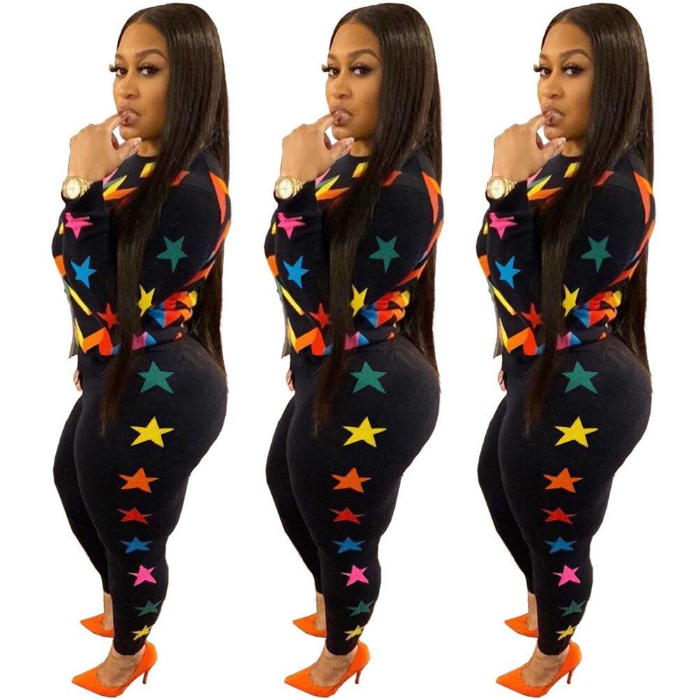 Colorful Striped Star 2 Piece Set Women's Sports Suit Autumn Winter Long Sleeve Top +Pants Legging Casual Sweatsuit Matching Set