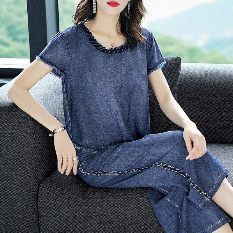 Ozhouzhan 2018 New Style Fashion Cowboy Two-Piece Set Irregular T-shirt Hem Loose Pants WOMEN'S Suit Summer Fashion