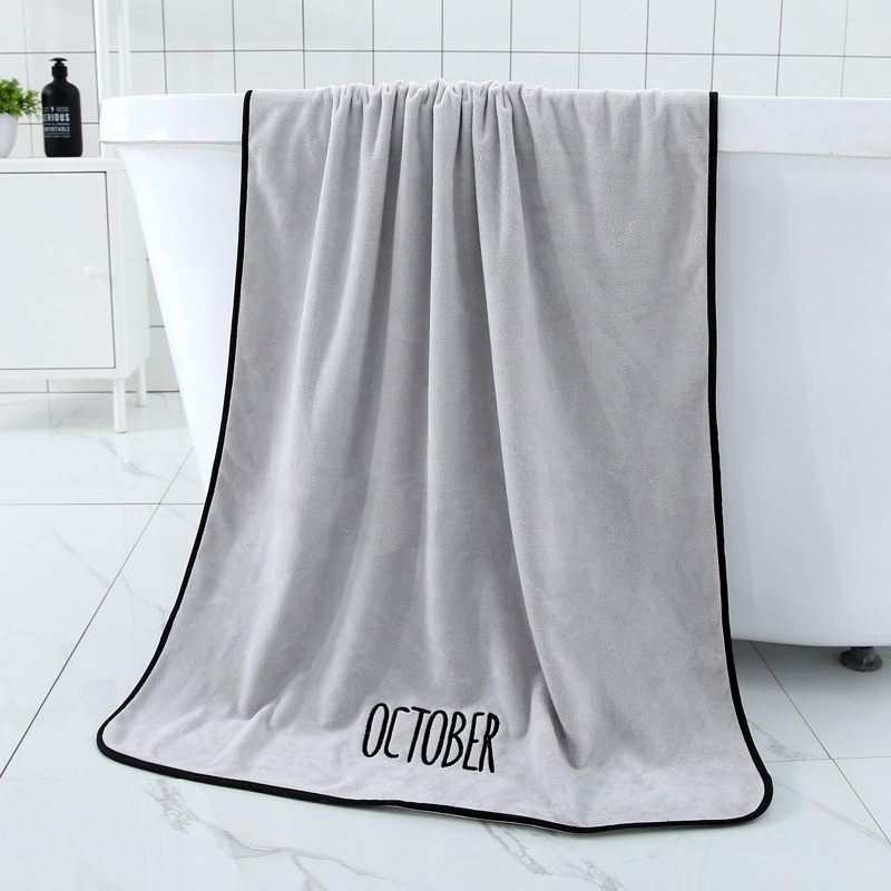 YIANSHU 1 12Months Embroidery Bath Towel Microfiber Fabric Soft Absorbent Towel Household Bathroom Towel Sets