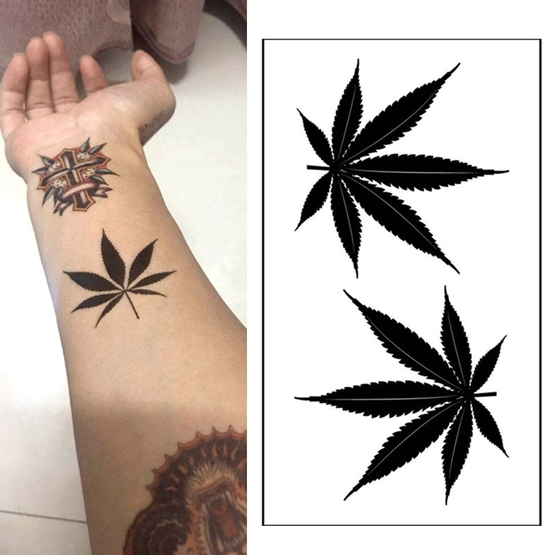1pcs  Waterproof Tattoo Temporary Sticker Black Clover Maple Leaf Tattoo Glitter