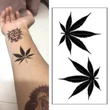 1pcs  waterproof tattoo temporary sticker black clover maple leaf glitter