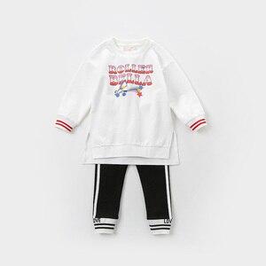 Image 3 - Dbk12243 dave bella primavera crianças meninas moda carta listrado calças crianças boutique casual tornozelo comprimento calças