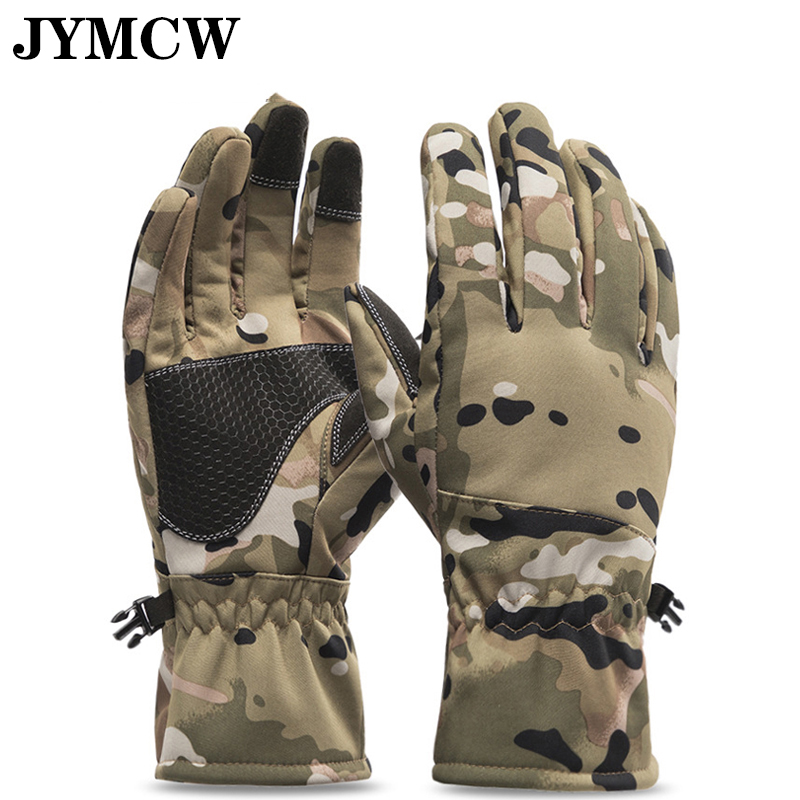 Winter camouflage hunting gloves warm non-slip fishing gloves waterproof touch screen ski camping gloves
