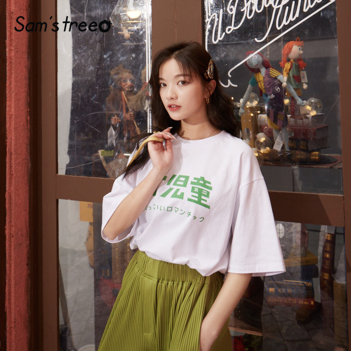 SAM'S TREE White Character Print Oversize Casual Women T Shirts 2020 Spring Black Graphic Short Sleeve Korean Ladies Daily Tops