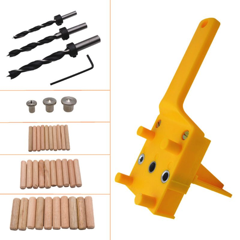 41pcs/set Handheld Woodworking Dowel Jig Guide For 6 8 10mm Drill Bits Wood Drilling Straight Hole Doweling With Metal Sleeve