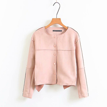 2019 Women Outwear Basic Jacket Pink Yellow Breasted Button