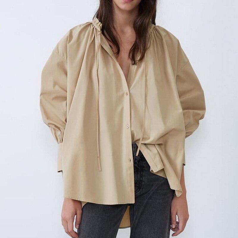 Women Loose Long Shirt Autumn 2019 New Fashion Lace Up Ruffle Collar Long Sleeve Modern Lady Wide Shirts
