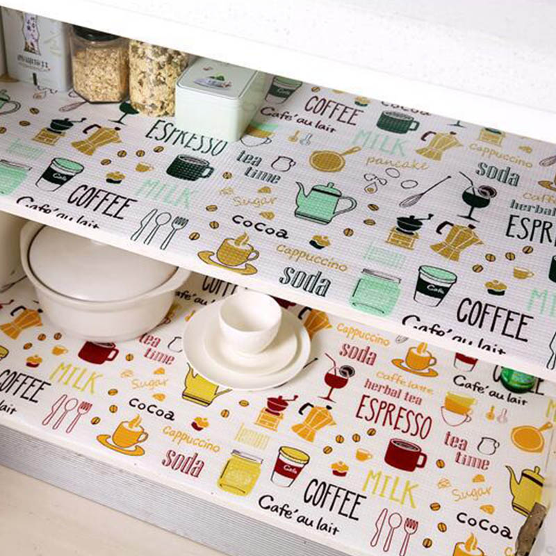1 Roll Kitchen Sticker Table Mat Drawers Cabinet Shelf Liners Flamingo Cupboard Placemat Waterproof Oil Proof Shoes Cabinet Mat