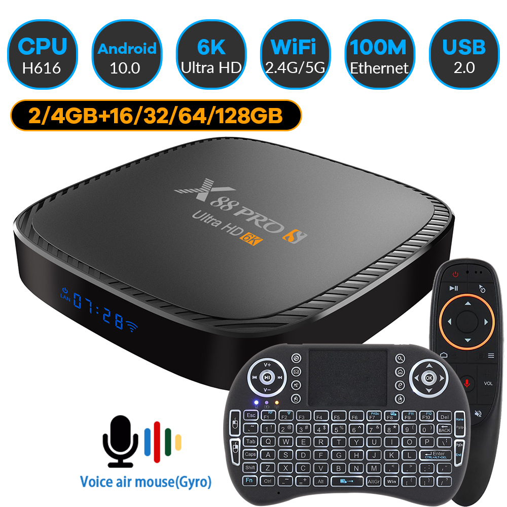 Transpeed X88S 6K 3D Android 10.0 TV Box Bluetooth 5.0 fast WiFi 2.4G&5.8G 16G 32G 64G 128G Voice Assistant Set Top Box