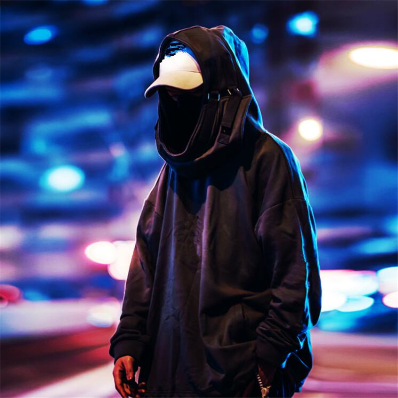 NAGRI  High Neck Fish Mouth Pullover Japanese Sweatshirts Men/Women Hoodies Oversize Streetwear Hip Hop Harajuku Male Tops