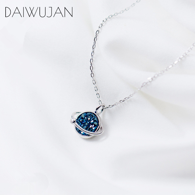 DAIWUJAN Real 925 Sterling Silver Korean Blue Crystal Star Clavicle Chain Necklace For Women Romantic Wedding Charm Jewelry Gift