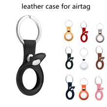 For airtag Tracker keychain leather air tag case protective cover for airtag holder Anti-lost Device Keychain Protect Sleeve
