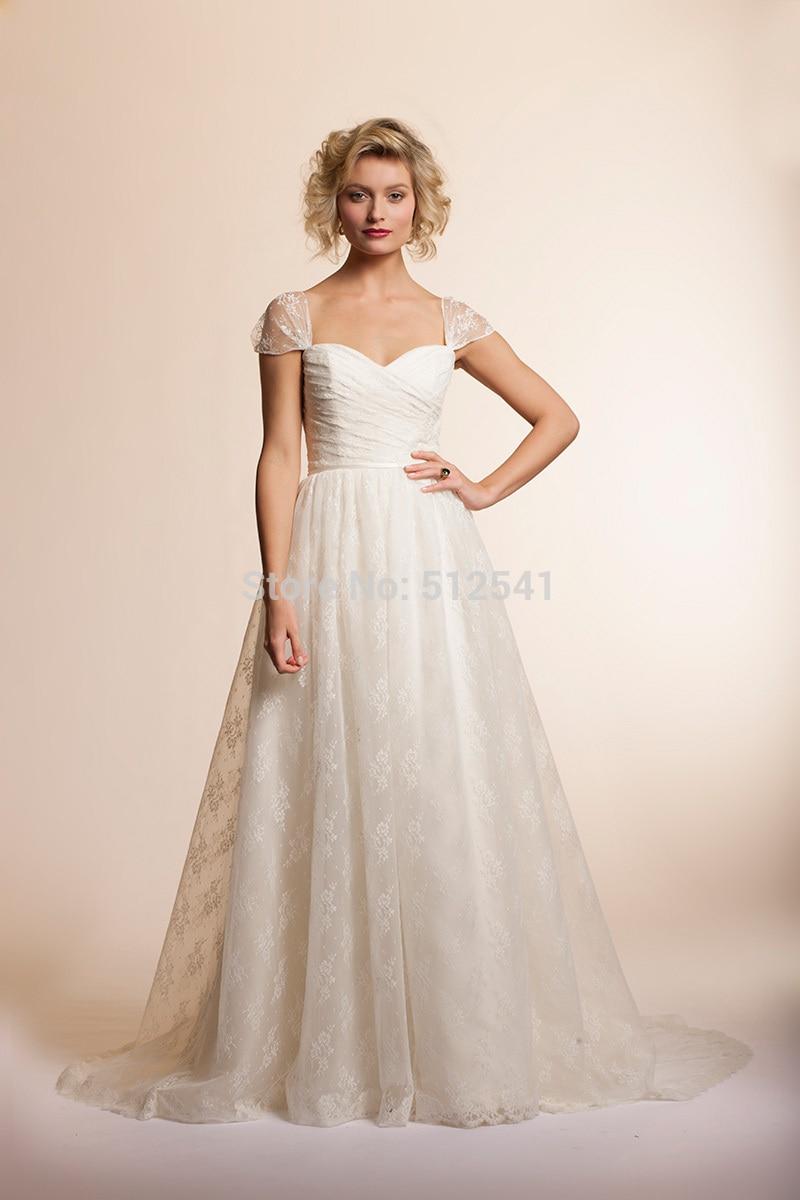 Cap Sleeves Lace Wedding Dresses A Line Sweetheart Pleats Zipper Back Applique Sweep Train 2019 Bridal Gowns Vestido De Noiva