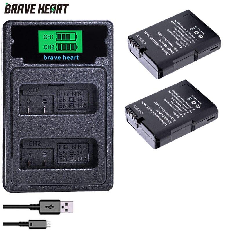 2x Bateria EN-EL14 EN EL14 ENEL14 Battery + Dual Battery Charger For Nikon D5500,D5300,D3300,D5100,D5200,D3100 P7100 P7700