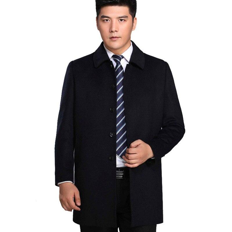 Высокое качество среднего возраста мужская шерстяное пальто, верхняя одежда для мужчин отложной воротник толстые зимние повседневное шерс... - 2