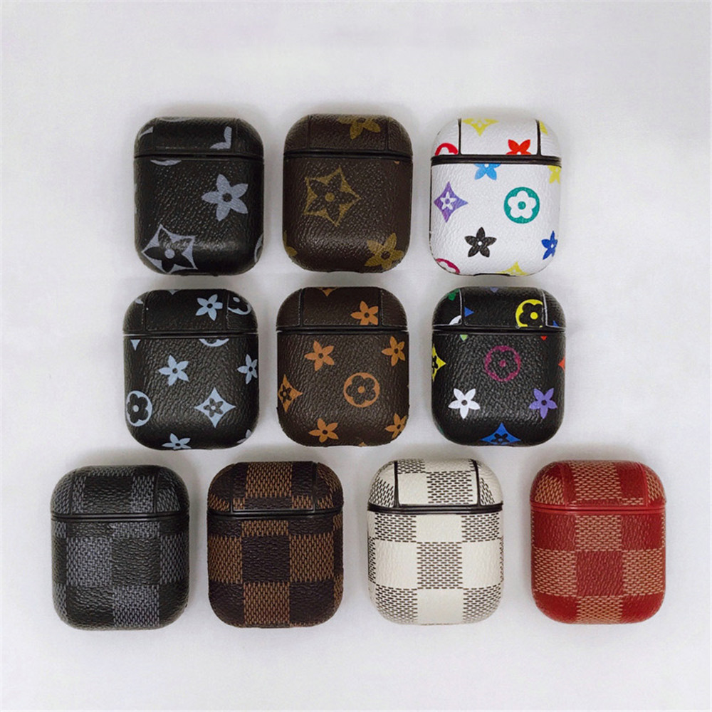 Earphone Case For Airpods 2 1 Cute Soft Pattern Leather Silicon Headphones Charging Dustproof Protector Coque Cover Accessories