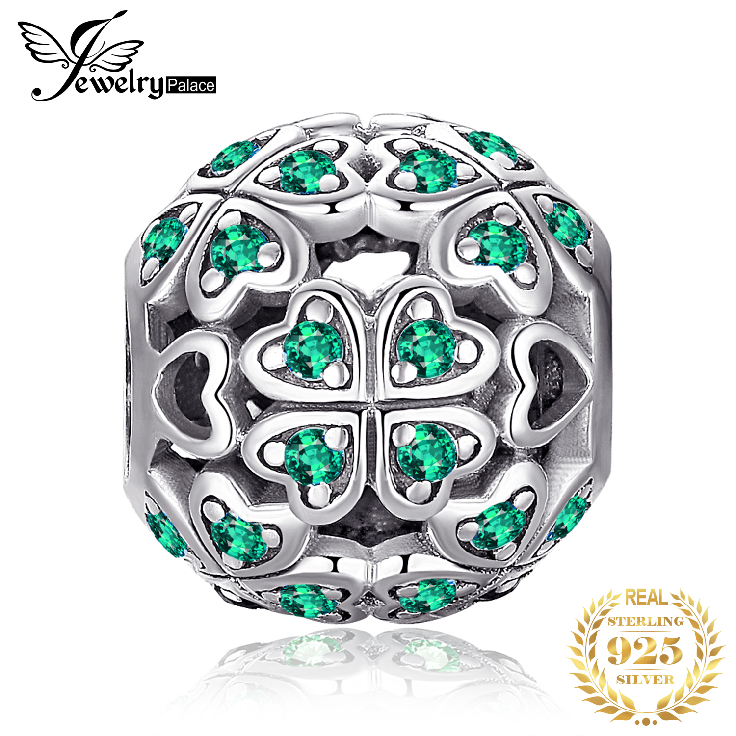 JewelryPalace Four Leaf 925 Sterling Silver Beads Charms Silver 925 Original For Bracelet Silver 925 Original For Jewelry Making