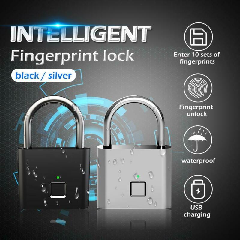 Keyless USB Rechargeable Door Lock Fingerprint Smart Padlock Quick Unlock Zinc Alloy Metal Self Developing Chip