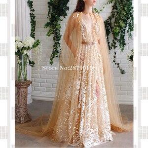 Image 2 - Elegant V Neck A Line Evening Dress Slit Floor Length Turkish Cape Prom Dress Robe De Soiree Aibye Vestido de festa 2020 Dubai