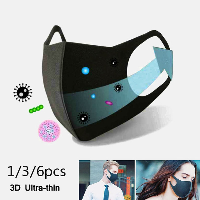 1/3/6pcs Activated Carbon Nano-polyurethane Black Mouth Mask Anti Dust Mask Windproof Mouth-muffle Bacteria Proof Flu Face Masks 1